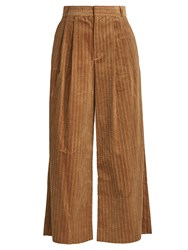 Muveil Wide Leg Cropped Cotton Corduroy Trousers Camel