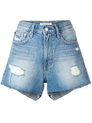 Ck Calvin Klein Jeans Distressed Denim Shorts Blue