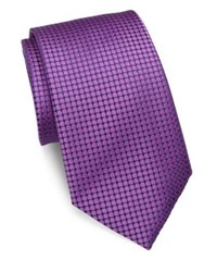 Charvet Circle Print Silk Tie Purple