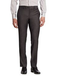 Saks Fifth Avenue Regular Fit Patterned Basic Ford Wool Pants Grey