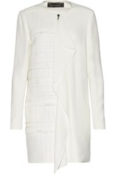 Roland Mouret Langley Fringed Pique Paneled Crepe Coat White