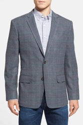 Wallin And Bros Trim Fit Plaid Sport Coat Gray