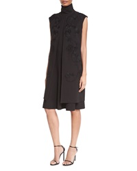 Josie Natori Embroidered Mid Length Vest Black