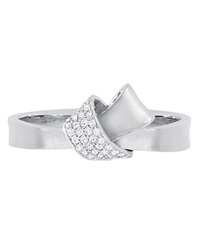 Carelle Diamond Pave Mini Knot Ring In White Gold