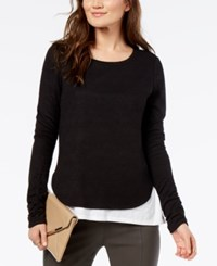 Inc International Concepts I.N.C. Colorblocked Layered Look Top Created For Macy's Black