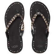 Ugg Women's Navie Ii Leather Braided Flip Flops Black