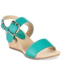 Bandolino Gladis Double Strap Wedge Sandals Tropical Teal