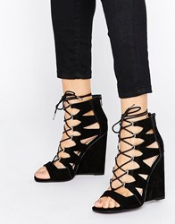 Asos Harlesden Lace Up Wedges Black
