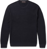 Michael Kors Slim Fit Textured Cotton Sweater Blue