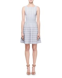 Alaia Pagode Grid Print Square Neck Dress White Blue