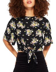 Miss Selfridge Ditsy Print Tie Front Cropped Top Multicolor