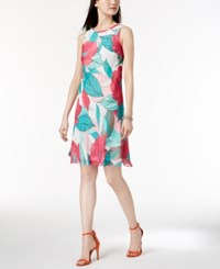 Nine West Sleeveless Printed Dress Hibiscus Multi