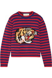 Gucci Appliqued Intarsia Wool Sweater Red