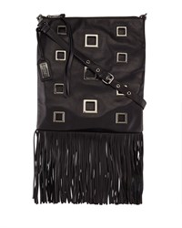 Lisa Napa Leather Fringe Tote Bag Black Badgley Mischka
