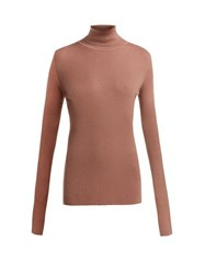 Raey Roll Neck Fine Rib Cashmere Sweater Pink