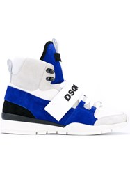 Dsquared2 Kari Hi Top Sneakers Men Calf Leather Polyester Polyurethane Rubber 45 Blue