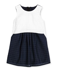 Milly Minis Ari Mesh Gingham Shift Dress Blue White Size 8 14 Girl's Size 10 Multi Colors