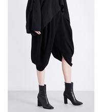 Limi Feu Draped High Rise Gabardine Trousers Black