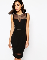 Michelle Keegan Loves Lipsy Belted Mesh Detail Pencil Dress Black
