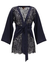Coco De Mer Athene Satin And Chantilly Lace Robe Navy