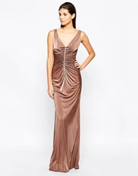 City Goddess Slinky Maxi Dress With Diamante Trim And Ruching Detail Beige
