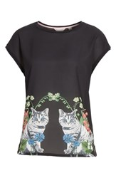 Ted Baker London Bleue Florence Woven Front Tee Black
