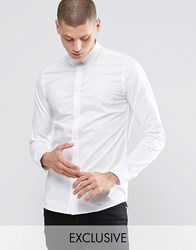 Only And Sons Skinny Shirt With Button Down Collar With Stretch White