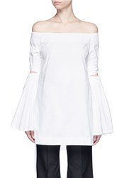 Ellery 'Cyril' Cutout Cone Sleeve Off Shoulder Cotton Poplin Top White