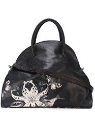 Marsa Ll Animal Print Half Moon Tote Black