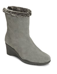 Aerosoles Attorney Faux Fur Trimmed Ankle Boots Dark Grey