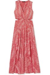Maje Renila Cutout Leopard Jacquard Maxi Dress Red