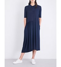 Jil Sander Polo Collar Loose Fit Knitted Dress Dark Blue