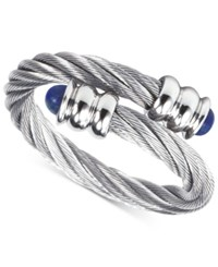 Charriol Women's Celtic Lapis Lazuli Accent Stainless Steel Cable Ring 02 01 1165 6 Silver
