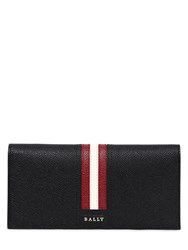 Bally Logo Stripe Leather Wallet Black