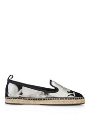 Fendi Flower Print Satin And Leather Espadrilles
