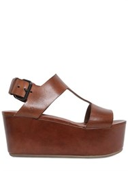 Marsell Marsell 80Mm T Bar Leather Wedge Sandals