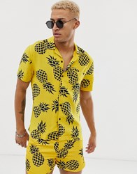 Religion Revere Collar Shirt With Pineapple Print Yellow