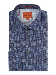 Simon Carter Watercolour House Print Shirt Navy