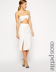Asos Petite Exclusive Split Front Textured Pencil Skirt White