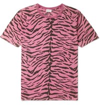 Saint Laurent Zebra Print Cotton Jersey T Shirt Pink