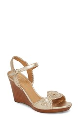Jack Rogers 'Clare' Rope Wedge Leather Sandal Platinum Leather