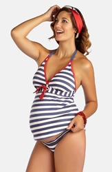 Pez D'or 'Palm Springs' Two Piece Maternity Swimsuit Navy Red