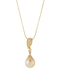Belpearl 14K Golden South Sea Pearl And Diamond Pendant Necklace Women's