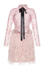 Costarellos Silk Yarn Feather Embellished Mini Dress Pink