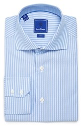 David Donahue Men's Big And Tall Trim Fit Stripe Dress Shirt Blue