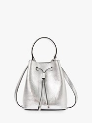 Ralph Lauren Dryden Debby Small Leather Bucket Bag Silver