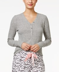 Alfani Ribbed Henley Pajama Top Only At Macy's Heather Grey