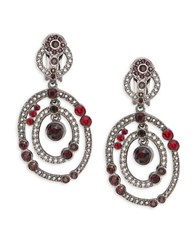 Oscar De La Renta Stone Chandelier Earrings Red