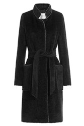 Max Mara Belted Coat With Alpaca Wool And Virgin Wool Black