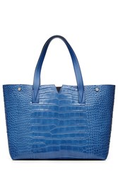 Vince Embossed Leather Tote Blue